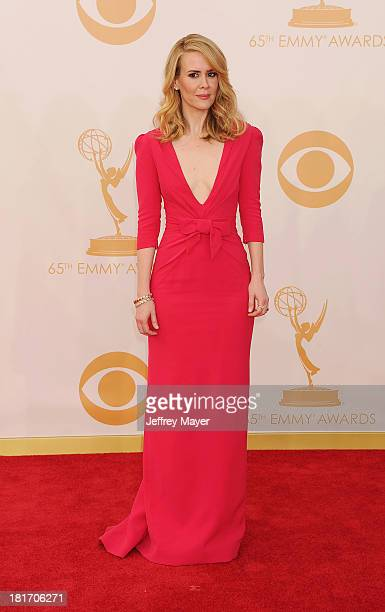 Actress Sarah Paulson arrives at the 65th Annual Primetime Emmy Awards at Nokia Theatre L.A. Live on September 22, 2013 in Los Angeles, California.