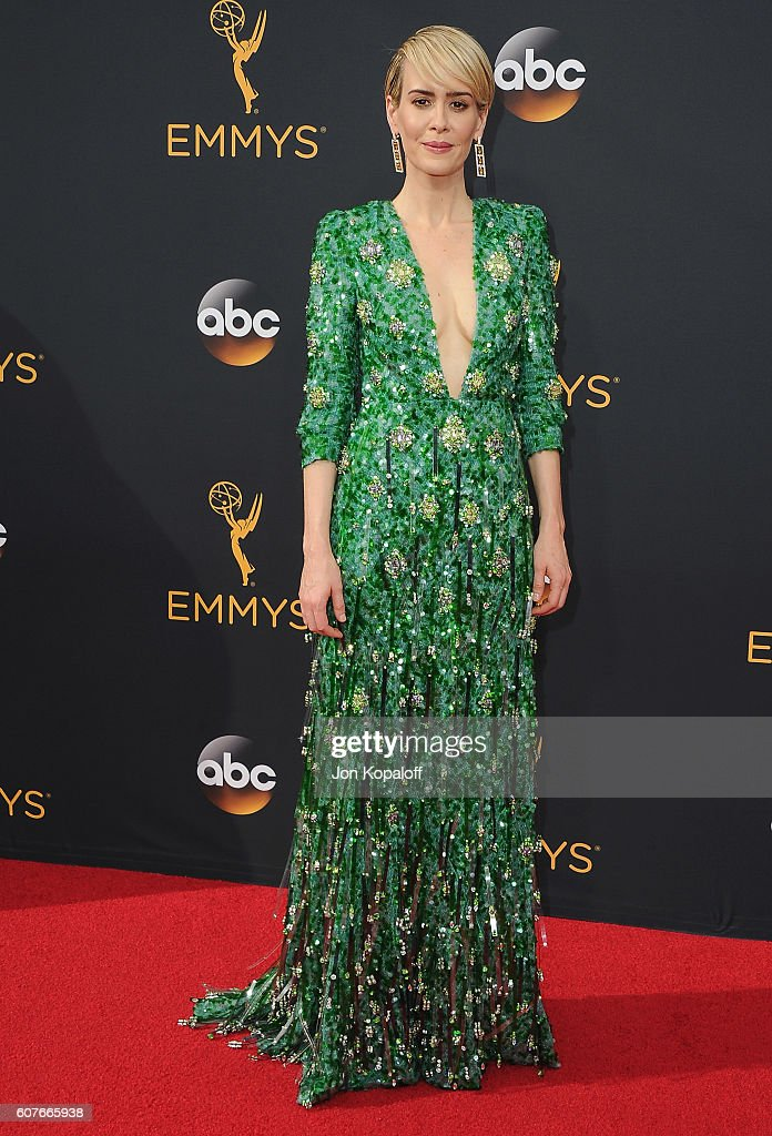 Actress Sarah Paulson arrives at the 68th Annual Primetime Emmy Awards at Microsoft Theater on September 18, 2016 in Los Angeles, California.