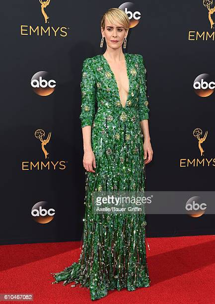 Actress Sarah Paulson arrives at the 68th Annual Primetime Emmy Awards at Microsoft Theater on September 18 2016 in Los Angeles California