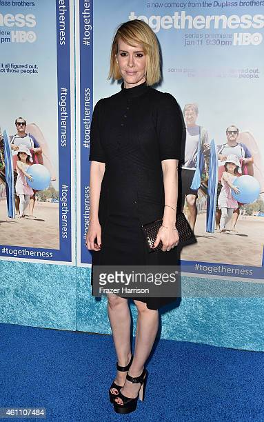 Actress Sarah Paulson arrives at the Premiere of HBO's Togetherness at Avalon on January 6 2015 in Hollywood California