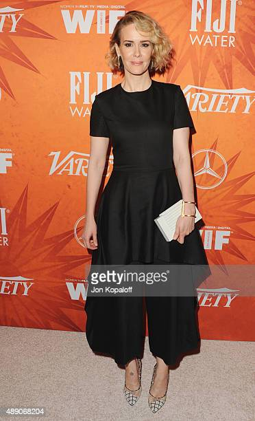Actress Sarah Paulson arrives at the Variety And Women In Film Annual Pre-Emmy Celebration at Gracias Madre on September 18, 2015 in West Hollywood,...