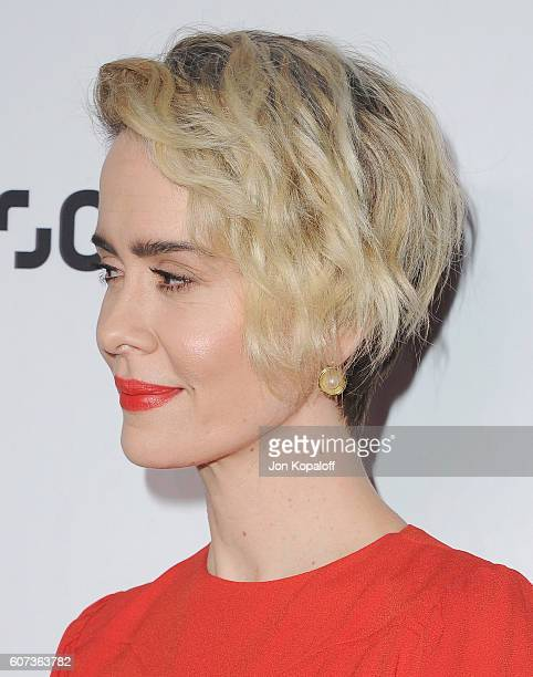Actress Sarah Paulson arrives at Variety And Women In Film's PreEmmy Celebration at Gracias Madre on September 16 2016 in West Hollywood California