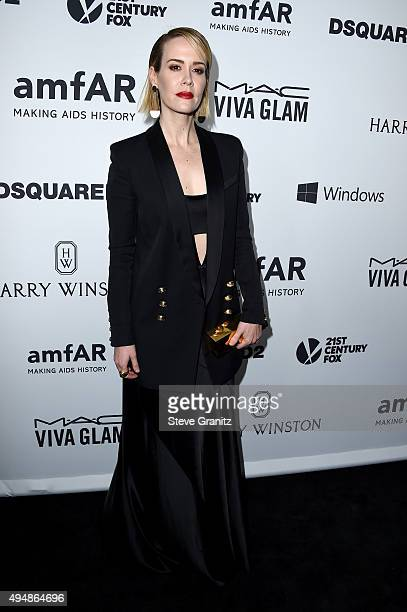 Actress Sarah Paulson attends amfAR's Inspiration Gala Los Angeles at Milk Studios on October 29 2015 in Hollywood California