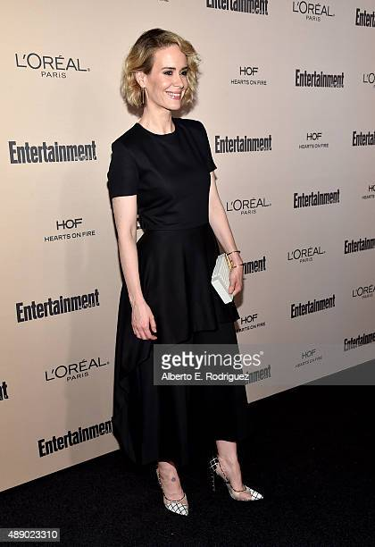 Actress Sarah Paulson attends the 2015 Entertainment Weekly Pre-Emmy Party at Fig & Olive Melrose Place on September 18, 2015 in West Hollywood,...