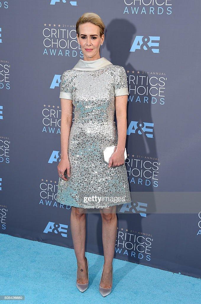 Actress Sarah Paulson attends the 21st Annual Critics' Choice Awards at Barker Hangar on January 17, 2016 in Santa Monica, California.