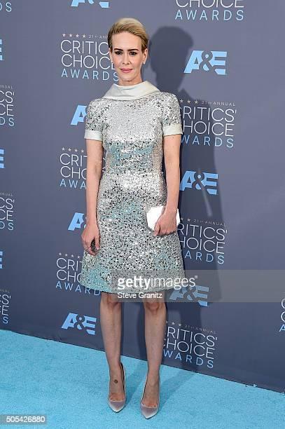 Actress Sarah Paulson attends the 21st Annual Critics' Choice Awards at Barker Hangar on January 17 2016 in Santa Monica California