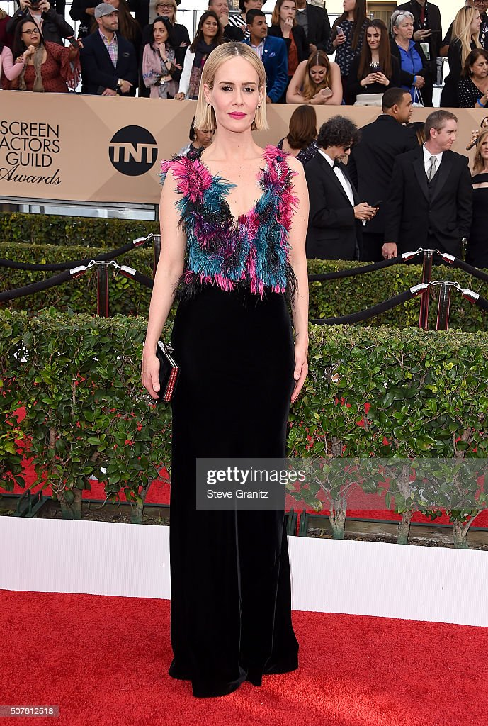 Actress Sarah Paulson attends the 22nd Annual Screen Actors Guild Awards at The Shrine Auditorium on January 30, 2016 in Los Angeles, California.