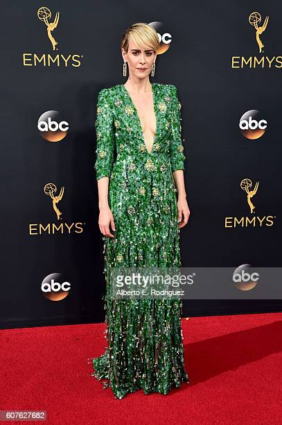 Actress Sarah Paulson attends the 68th Annual Primetime Emmy Awards at Microsoft Theater on September 18, 2016 in Los Angeles, California.