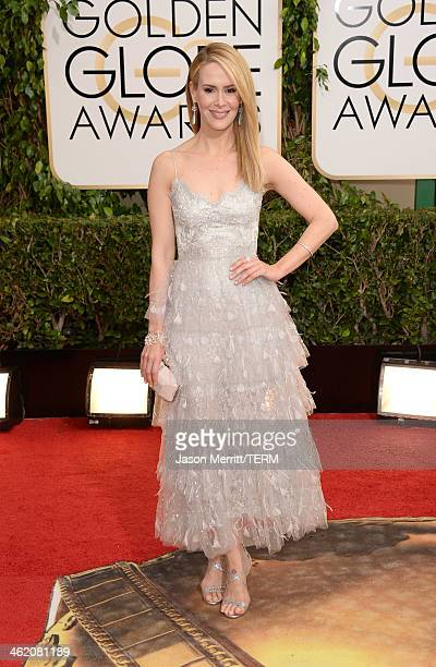 Actress Sarah Paulson attends the 71st Annual Golden Globe Awards held at The Beverly Hilton Hotel on January 12 2014 in Beverly Hills California