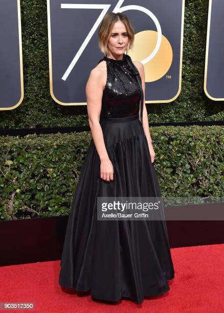 Actress Sarah Paulson attends the 75th Annual Golden Globe Awards at The Beverly Hilton Hotel on January 7 2018 in Beverly Hills California
