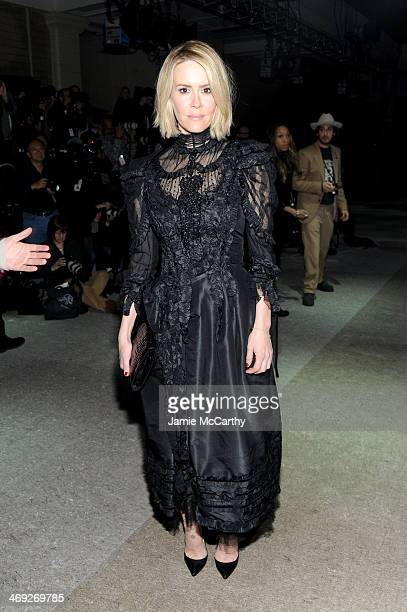 Actress Sarah Paulson attends the Marc Jacobs fashion show during MercedesBenz Fashion Week Fall 2014 at Lexington Avenue Armory on February 13 2014...