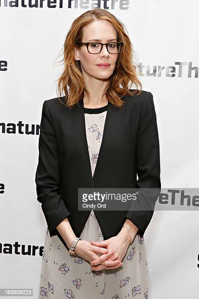 Actress Sarah Paulson attends The Mound Builders Opening Night Party at Signature Theatre Company's The Pershing Square Signature Center on March 17...