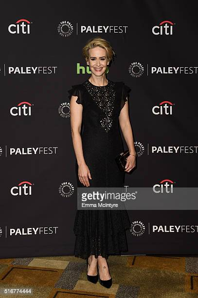 Actress Sarah Paulson attends The Paley Center For Media's 33rd Annual PaleyFest Los Angeles Closing Night Presentation 'American Horror Story Hotel'...
