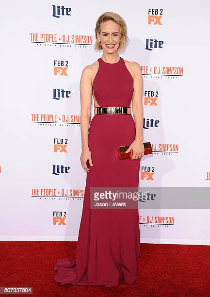 Actress Sarah Paulson attends the premiere of 'American Crime Story The People V OJ Simpson' at Westwood Village Theatre on January 27 2016 in...
