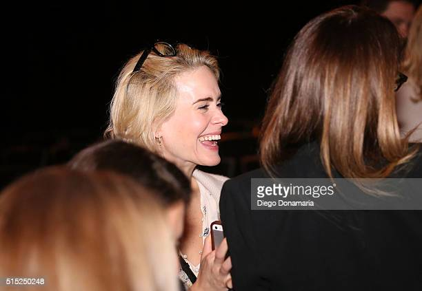 Actress Sarah Paulson attends the premiere of Miss Stevens during the 2016 SXSW Music Film Interactive Festival at Vimeo on March 12 2016 in Austin...