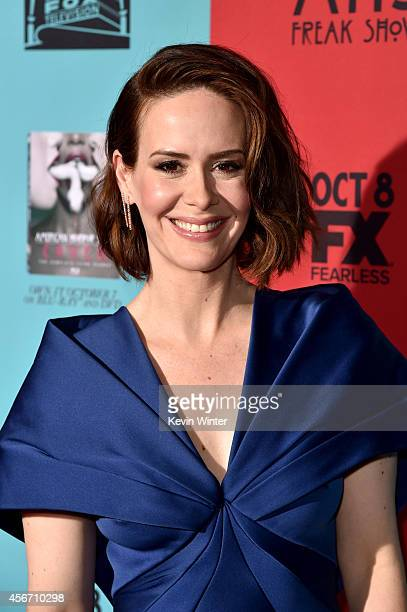 Actress Sarah Paulson attends the premiere screening of FX's American Horror Story Freak Show at TCL Chinese Theatre on October 5 2014 in Hollywood...