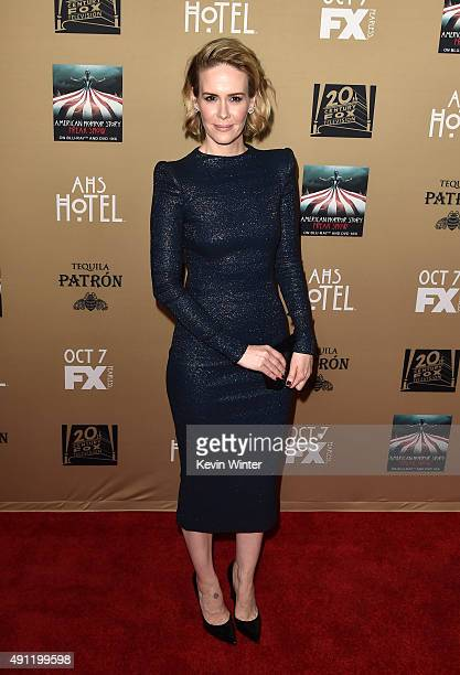 Actress Sarah Paulson attends the premiere screening of FX's American Horror Story Hotel at Regal Cinemas LA Live on October 3 2015 in Los Angeles...