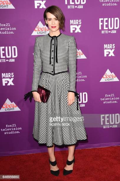 Actress Sarah Paulson attends the red carpet event for FX's television series 'Feud Bette and Joan' March 1 2017 at the TCL Chinese Theatre in...
