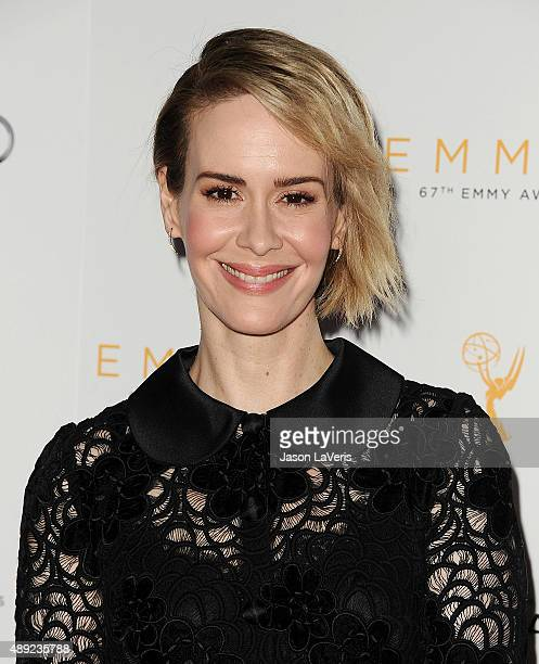 Actress Sarah Paulson attends the Television Academy's celebration for the 67th Emmy Award nominees for outstanding performances at Pacific Design...