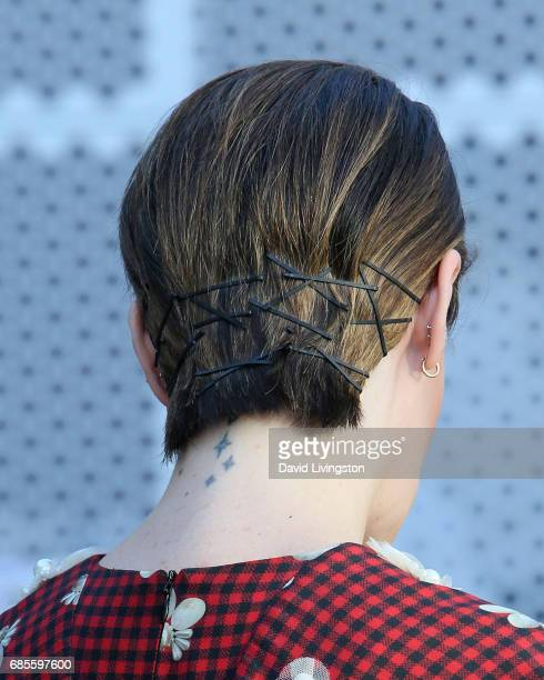 Actress Sarah Paulson hair tattoo detail attends NBC's 'Late Night with Seth Meyers' FYC event at the Television Academy on May 19 2017 in Los...