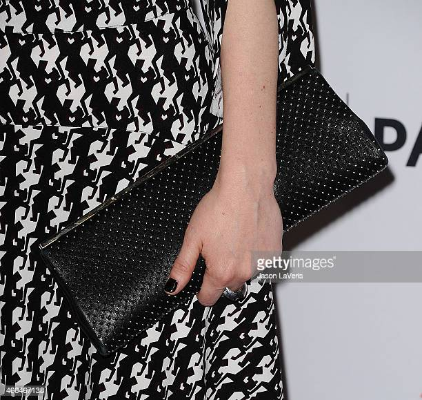 Actress Sarah Paulson handbag detail attends the American Horror Story Freak Show event at the 32nd annual PaleyFest at Dolby Theatre on March 15...