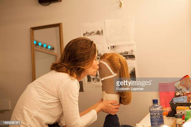 Actress Sarah Paulson is photographed backstage of Talley's Folley for Wall Street Journal on February 26 2013 at Laura Pels Theater in New York City...