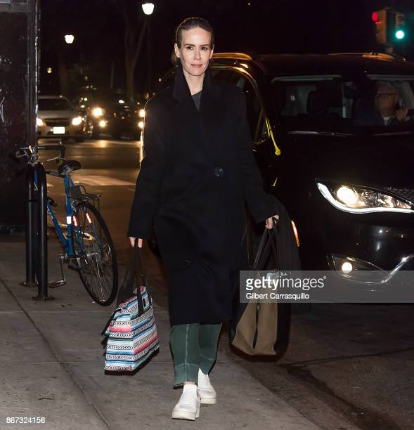 Actress Sarah Paulson is seen after filming scenes of 'Glass' a sequel to M Night Shyamalan's thriller Unbreakable on October 27 2017 in Philadelphia...