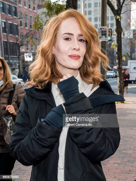 Actress Sarah Paulson is seen on set of 'Glass' a sequel to M Night Shyamalan's thriller Unbreakable on December 4 2017 in Philadelphia Pennsylvania