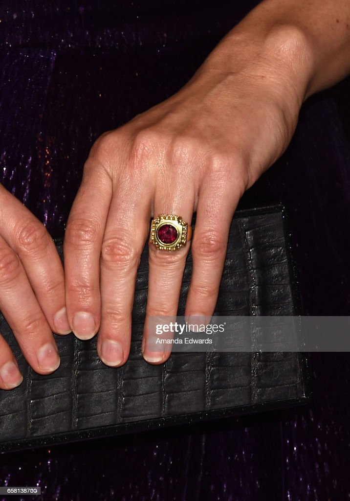 Actress Sarah Paulson, ring detail, attends The Paley Center For Media's 34th Annual PaleyFest Los Angeles - 'American Horror Story: Roanoke' screening and panel at the Dolby Theatre on March 26, 2017 in Hollywood, California.