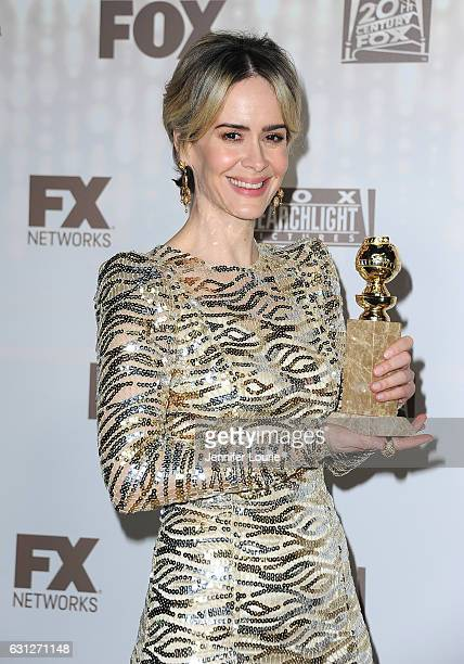 Actress Sarah Paulson winner of the Best Performance in a Miniseries or Television Film for 'The People v OJ Simpson attends FOX and FX's 2017 Golden...
