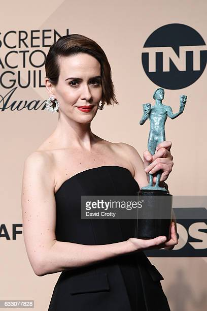 Actress Sarah Paulson, winner of the Outstanding Performance by a Female Actor in a Miniseries or Television Movie for 'The People v. O.J. Simpson:...