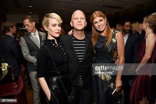 Actress Sarah Paulson writer/director/producer Ryan Murphy and Connie Britton at Vanity Fair And FX's Annual Primetime Emmy Nominations Party on...