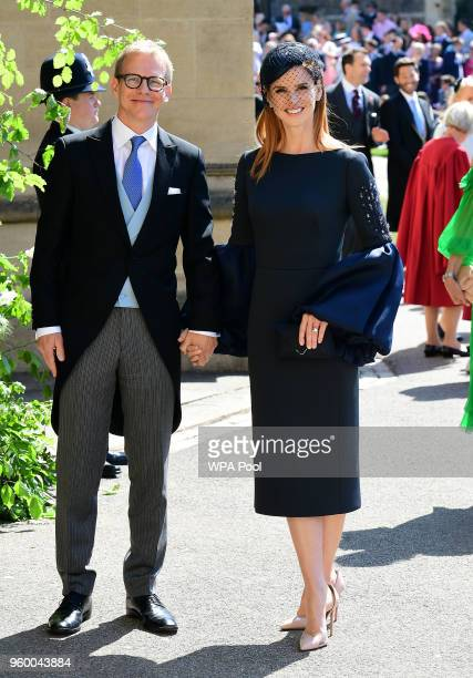 Actress Sarah Rafferty and her husband Santtu Seppälä arrive at St George's Chapel at Windsor Castle before the wedding of Prince Harry to Meghan...