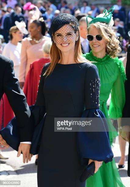 Actress Sarah Rafferty arrives at St George's Chapel at Windsor Castle before the wedding of Prince Harry to Meghan Markle on May 19 2018 in Windsor...