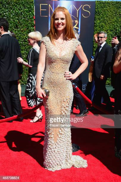 Actress Sarah Rafferty attends the 2014 Creative Arts Emmy Awards at Nokia Theatre LA Live on August 16 2014 in Los Angeles California