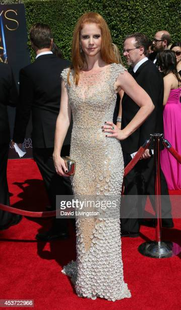 Actress Sarah Rafferty attends the 2014 Creative Arts Emmy Awards at the Nokia Theatre LA Live on August 16 2014 in Los Angeles California