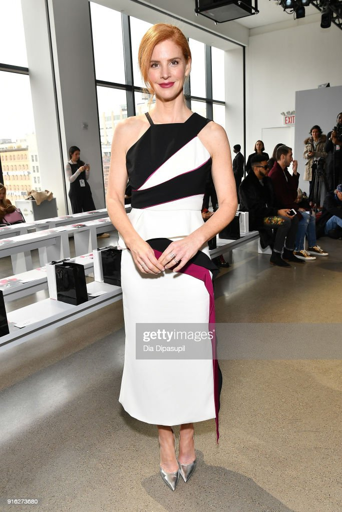 Actress Sarah Rafferty attends the Bibhu Mohapatra front row during New York Fashion Week: The Shows at Gallery II at Spring Studios on February 9, 2018 in New York City.