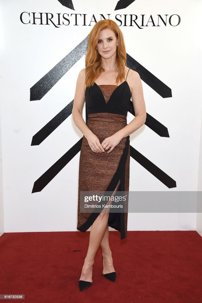 Actress Sarah Rafferty attends the Christian Siriano fashion show during New York Fashion Week at Grand Lodge on February 10, 2018 in New York City.