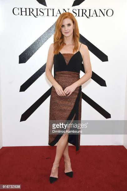 Actress Sarah Rafferty attends the Christian Siriano fashion show during New York Fashion Week at Grand Lodge on February 10 2018 in New York City
