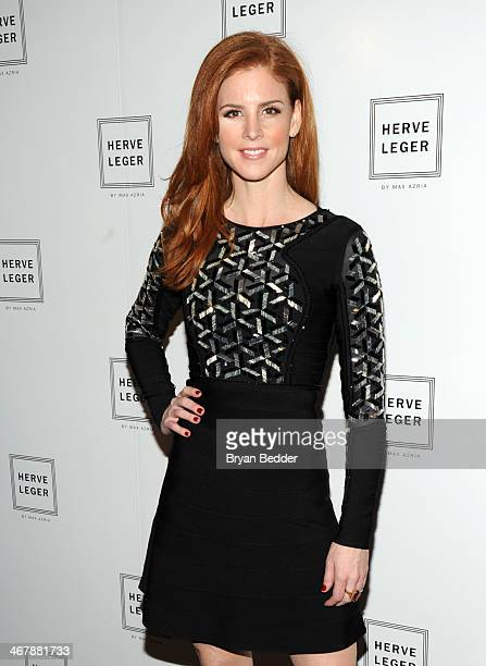 Actress Sarah Rafferty poses backstage at the Herve Leger By Max Azria fashion show during MercedesBenz Fashion Week Fall 2014 at The Theatre at...