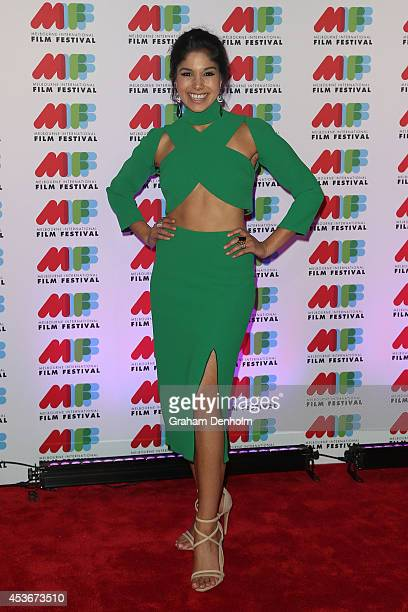 Actress Sarah Roberts poses at the Austalian premiere of 'Felony' directed by Matthew Saville at Hoyts Melbourne Central on August 16 2014 in...