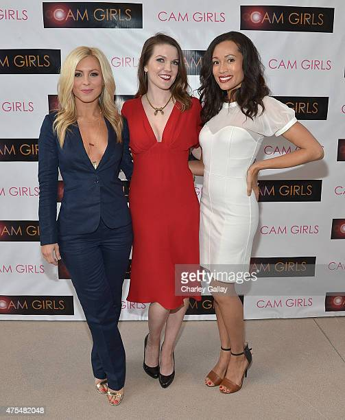 Actress Sarah Schreiber actress and exeutive producer Kate Bond and actress Annie Ruby attend the screening party for the new original web series CAM...