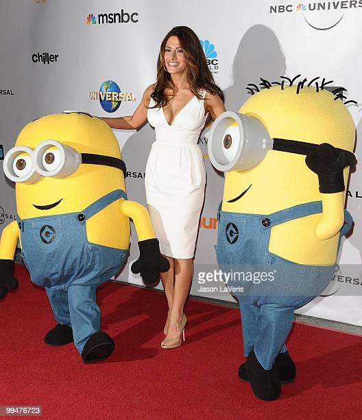 Actress Sarah Shahi and the Minions from 'Despicable Me' attend 'An Evening With NBC Universal' at The Cable Show 2010 at Universal Studios Hollywood...