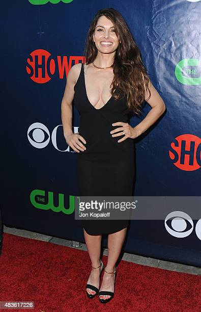 Actress Sarah Shahi arrives at CBS CW And Showtime 2015 Summer TCA Party at Pacific Design Center on August 10 2015 in West Hollywood California