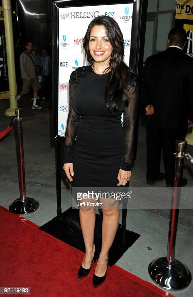 Actress Sarah Shahi arrives at the premiere of Stan Helsing Bo Zenga's hilarious horror film parody held at ArcLight Hollywood on October 20 2009 in...