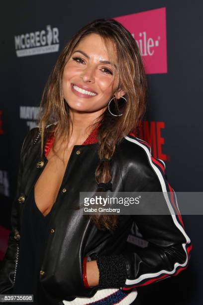 Actress Sarah Shahi arrives on TMobile's magenta carpet duirng the Showtime WME IME and Mayweather Promotions VIP PreFight Party for Mayweather vs...