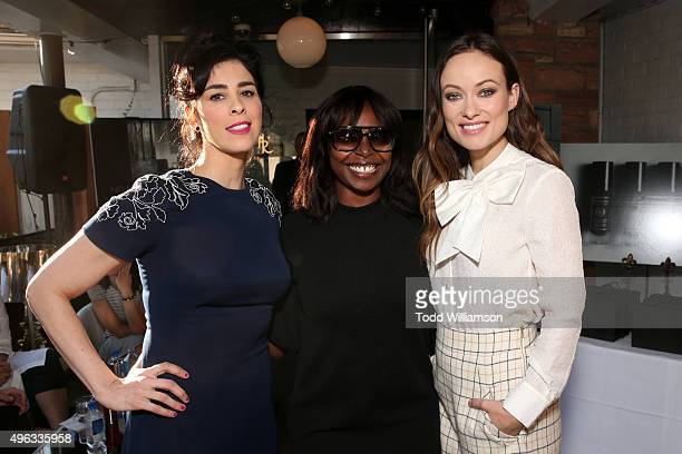 Actress Sarah Silverman, AFI FEST Director Jacqueline Lyanga and actress Olivia Wilde attend the photo call for 'Indie Contenders Roundtable...