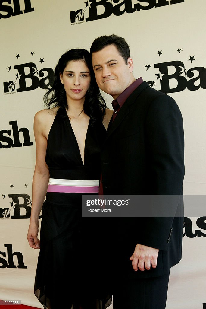 Actress Sarah Silverman and actor Jimmy Kimmel attend MTV's 'BASH' at the Hollywood Palladium June 28, 2003 in Hollywood California.