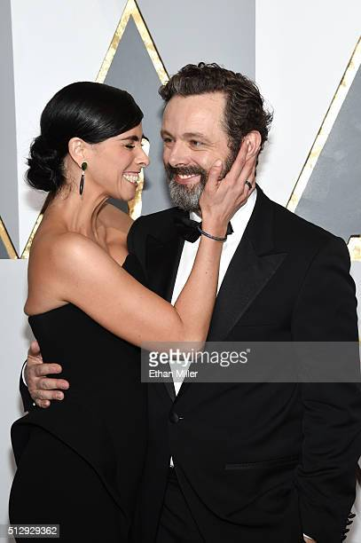 Actress Sarah Silverman and actor Michael Sheen attend the 88th Annual Academy Awards at Hollywood Highland Center on February 28 2016 in Hollywood...