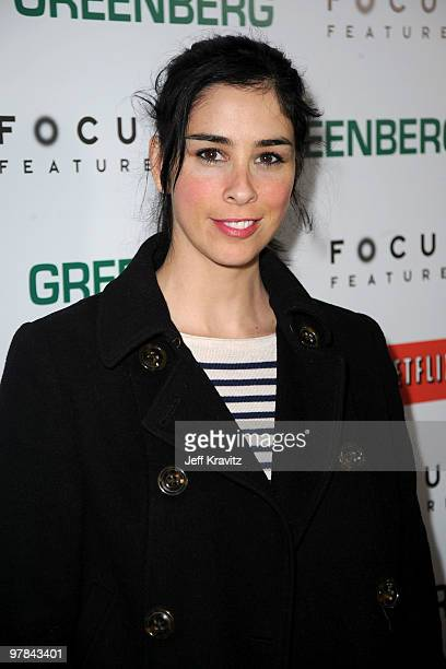 Actress Sarah Silverman arrives at the premiere of 'Greenberg' presented by Focus Features at ArcLight Hollywood on March 18 2010 in Hollywood...